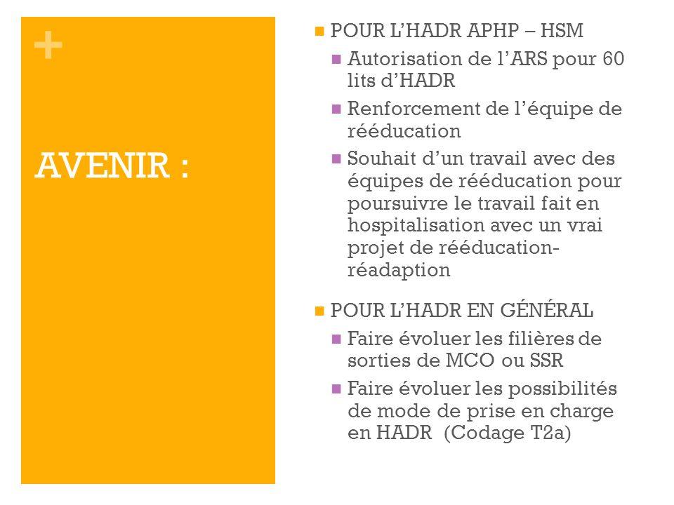 + AVENIR : POUR LHADR APHP – HSM Autorisation de lARS pour 60 lits dHADR Renforcement de léquipe de rééducation Souhait dun travail avec des équipes d