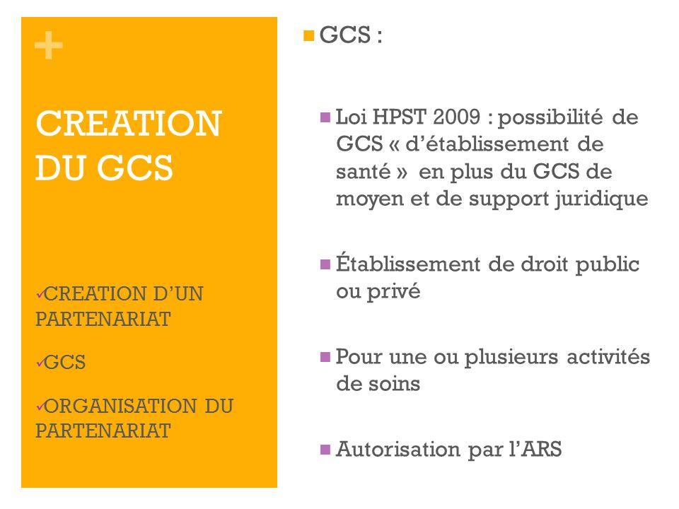 + GCS : Loi HPST 2009 : possibilité de GCS « détablissement de santé » en plus du GCS de moyen et de support juridique Établissement de droit public o