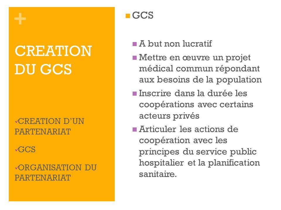 + GCS A but non lucratif Mettre en œuvre un projet médical commun répondant aux besoins de la population Inscrire dans la durée les coopérations avec