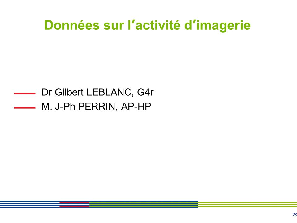 28 Données sur lactivité dimagerie Dr Gilbert LEBLANC, G4r M. J-Ph PERRIN, AP-HP