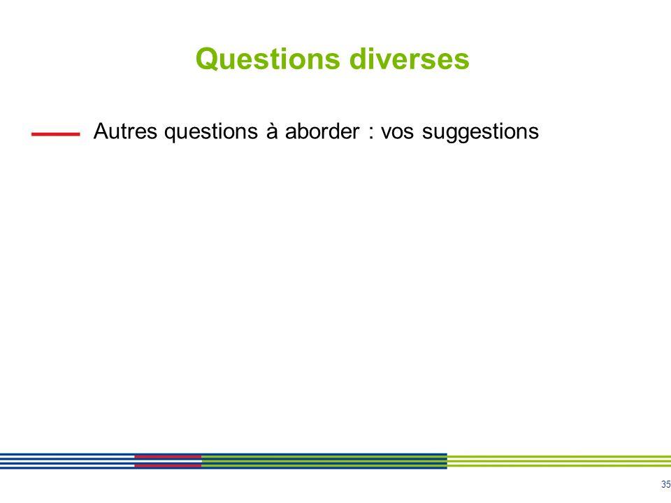 35 Questions diverses Autres questions à aborder : vos suggestions