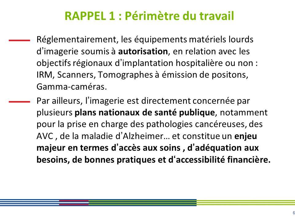 6 RAPPEL 1 : Périmètre du travail Réglementairement, les équipements matériels lourds dimagerie soumis à autorisation, en relation avec les objectifs régionaux dimplantation hospitalière ou non : IRM, Scanners, Tomographes à émission de positons, Gamma-caméras.