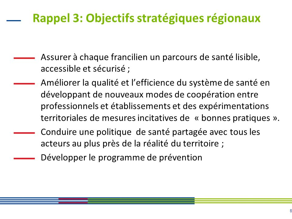 8 Rappel 3: Objectifs stratégiques régionaux Assurer à chaque francilien un parcours de santé lisible, accessible et sécurisé ; Améliorer la qualité et lefficience du système de santé en développant de nouveaux modes de coopération entre professionnels et établissements et des expérimentations territoriales de mesures incitatives de « bonnes pratiques ».