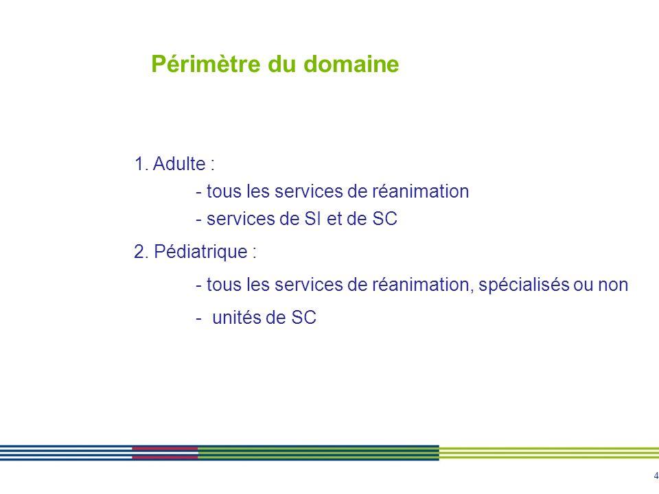 4 Périmètre du domaine 1. Adulte : - tous les services de réanimation - services de SI et de SC 2. Pédiatrique : - tous les services de réanimation, s