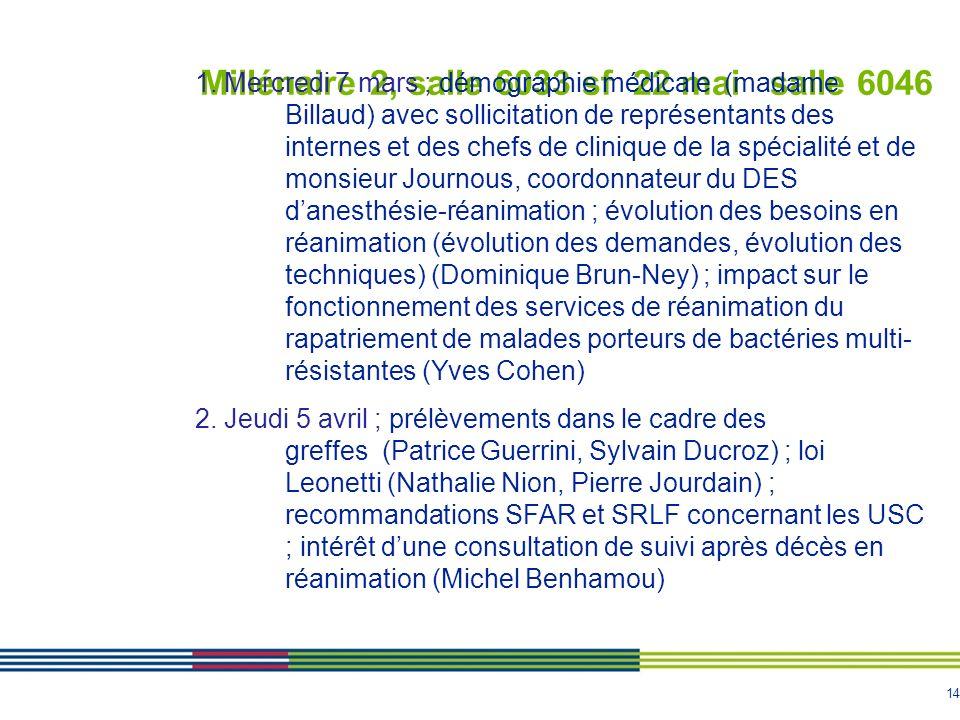 14 Millénaire 2, salle 6033 sf 22 mai salle 6046 1. Mercredi 7 mars ; démographie médicale (madame Billaud) avec sollicitation de représentants des in