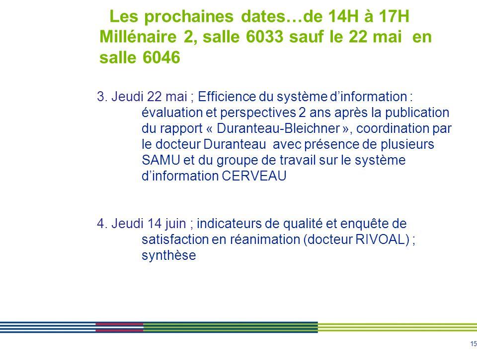 15 Les prochaines dates…de 14H à 17H Millénaire 2, salle 6033 sauf le 22 mai en salle 6046 3. Jeudi 22 mai ; Efficience du système dinformation : éval