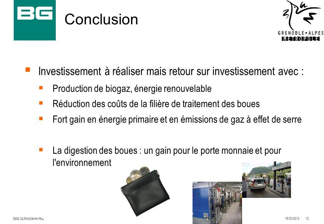 15/03/201212 8690.02-RN004/Hln/Pcu Conclusion Investissement à réaliser mais retour sur investissement avec : Production de biogaz, énergie renouvelab