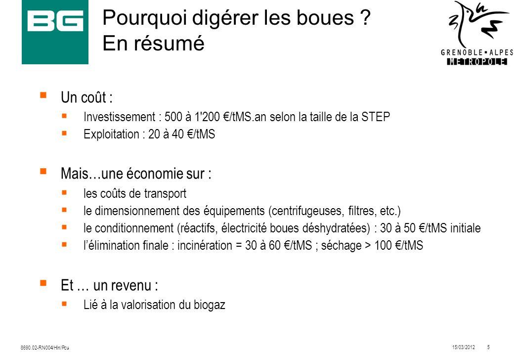 15/03/20125 8690.02-RN004/Hln/Pcu Pourquoi digérer les boues ? En résumé Un coût : Investissement : 500 à 1'200 /tMS.an selon la taille de la STEP Exp