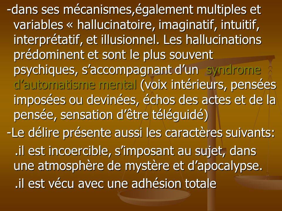 -dans ses mécanismes,également multiples et variables « hallucinatoire, imaginatif, intuitif, interprétatif, et illusionnel. Les hallucinations prédom