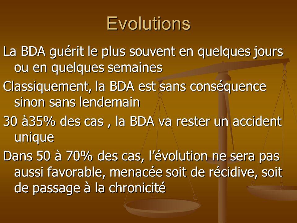 Evolutions La BDA guérit le plus souvent en quelques jours ou en quelques semaines Classiquement, la BDA est sans conséquence sinon sans lendemain 30