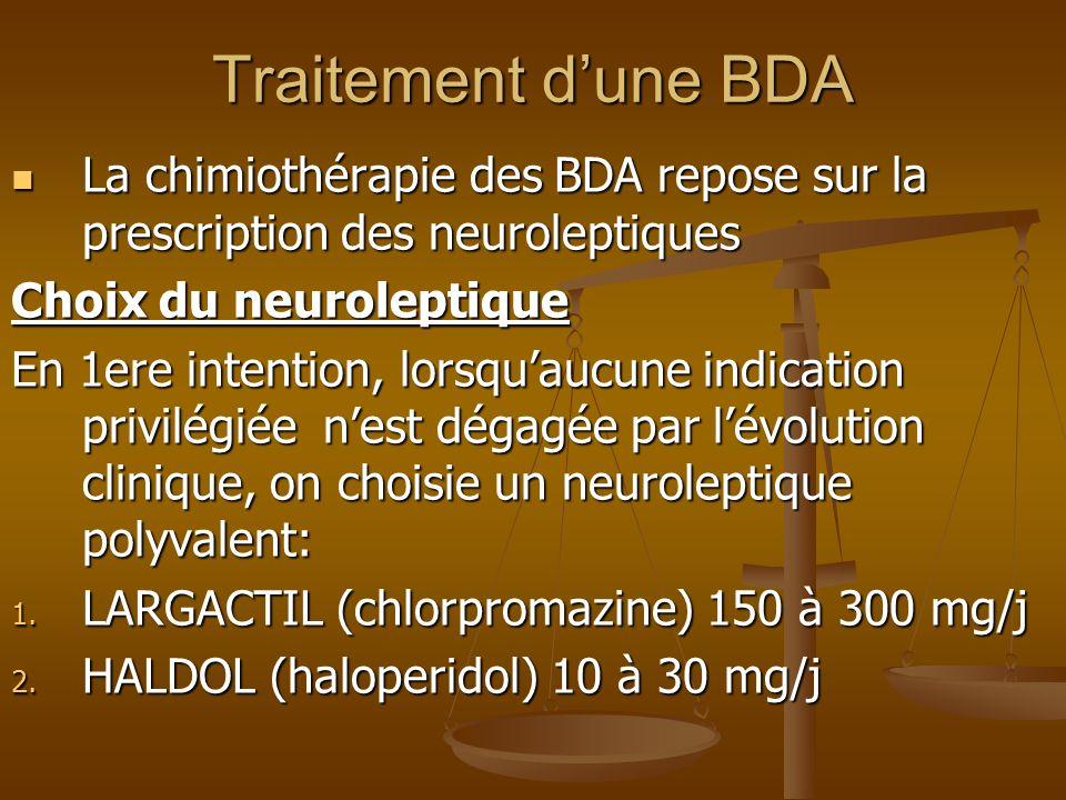 Traitement dune BDA La chimiothérapie des BDA repose sur la prescription des neuroleptiques La chimiothérapie des BDA repose sur la prescription des n