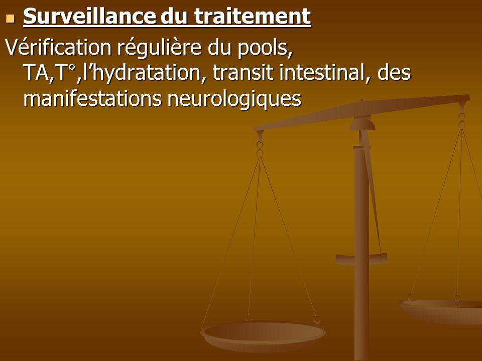 Surveillance du traitement Surveillance du traitement Vérification régulière du pools, TA,T°,lhydratation, transit intestinal, des manifestations neur