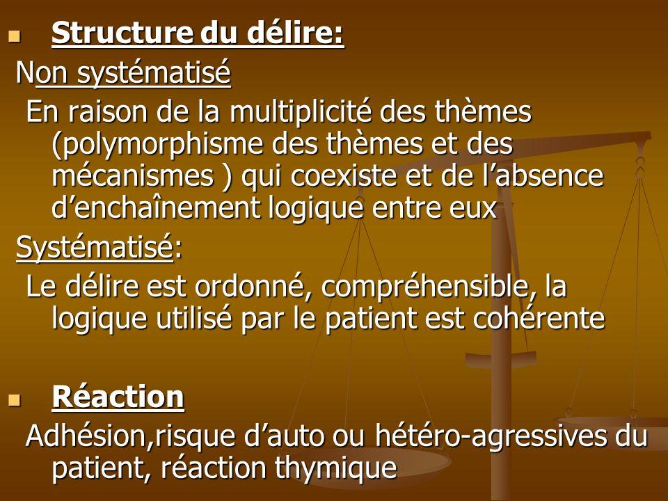 Structure du délire: Structure du délire: Non systématisé Non systématisé En raison de la multiplicité des thèmes (polymorphisme des thèmes et des méc