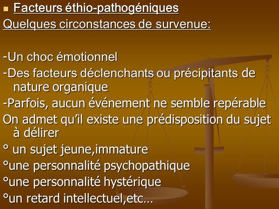 Facteurs éthio-pathogéniques Facteurs éthio-pathogéniques Quelques circonstances de survenue: - Un choc émotionnel - Des facteurs déclenchants ou préc
