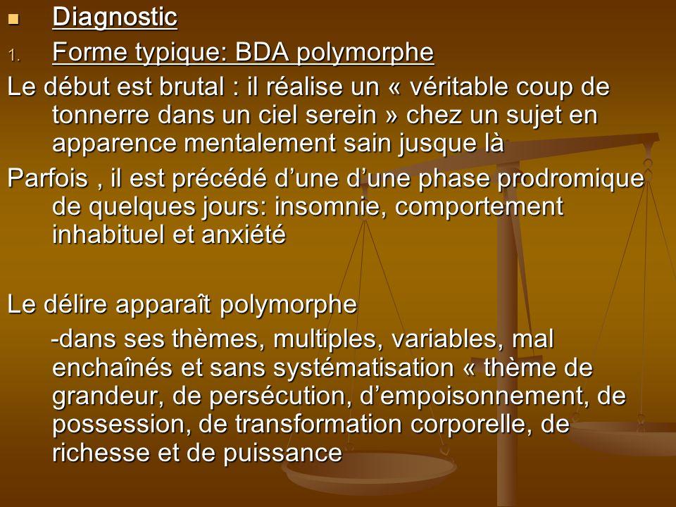 Diagnostic Diagnostic 1. Forme typique: BDA polymorphe Le début est brutal : il réalise un « véritable coup de tonnerre dans un ciel serein » chez un