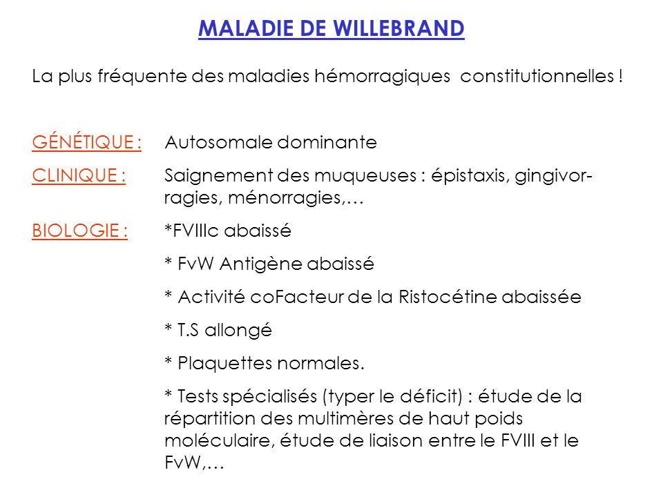 MALADIE DE WILLEBRAND La plus fréquente des maladies hémorragiques constitutionnelles .