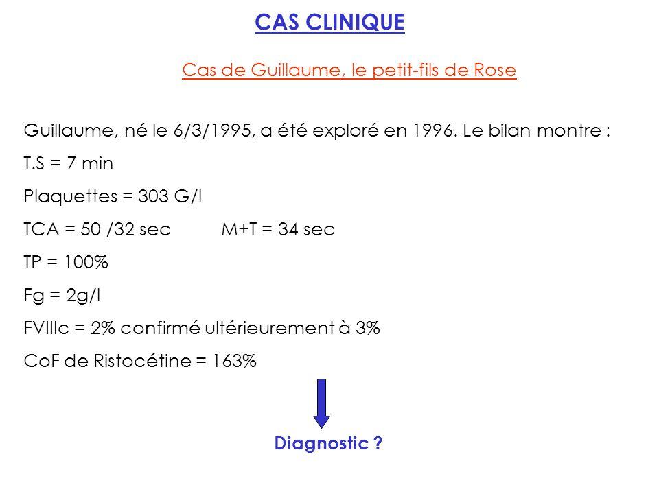 CAS CLINIQUE Cas de Guillaume, le petit-fils de Rose Guillaume, né le 6/3/1995, a été exploré en 1996.