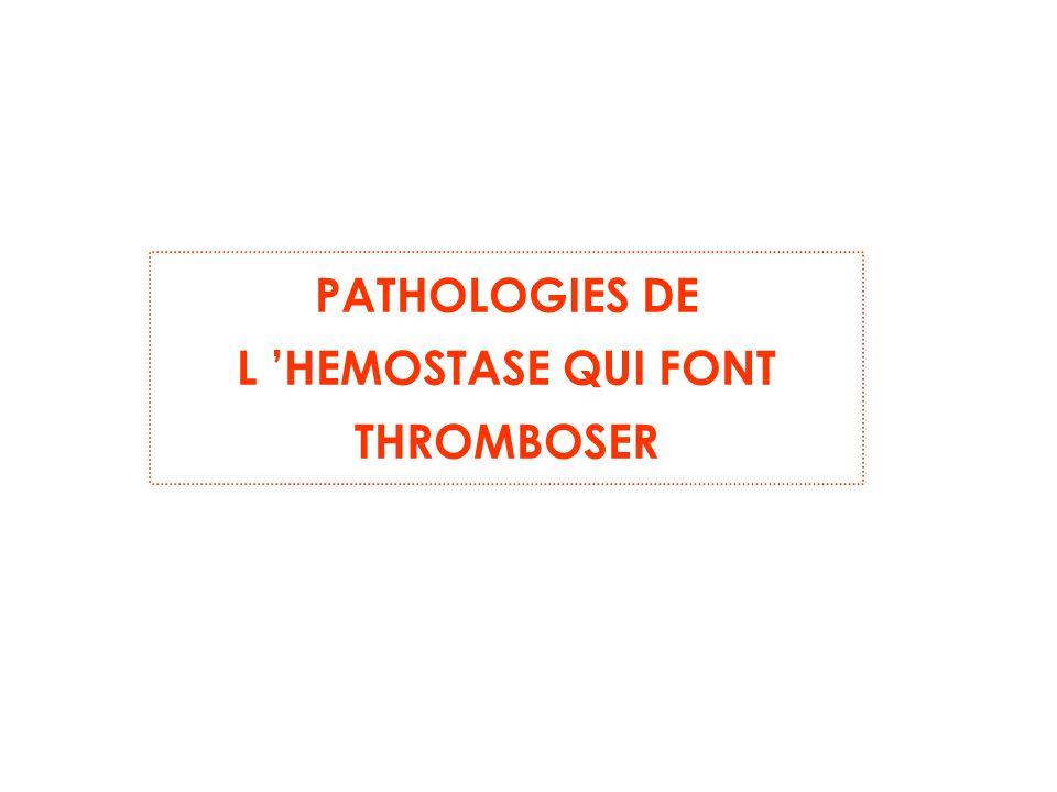 PATHOLOGIES DE L HEMOSTASE QUI FONT THROMBOSER