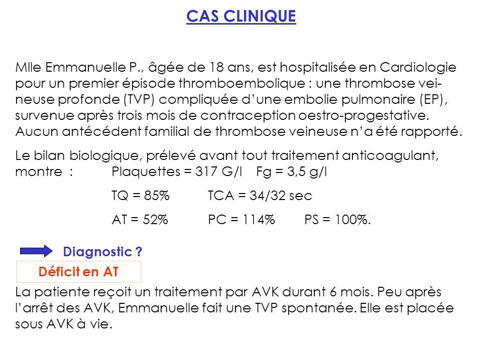 CAS CLINIQUE Mlle Emmanuelle P., âgée de 18 ans, est hospitalisée en Cardiologie pour un premier épisode thromboembolique : une thrombose vei- neuse profonde (TVP) compliquée dune embolie pulmonaire (EP), survenue après trois mois de contraception oestro-progestative.