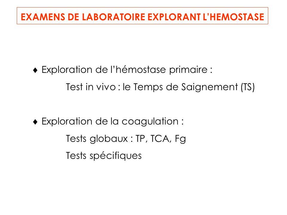 EXAMENS DE LABORATOIRE EXPLORANT LHEMOSTASE Exploration de lhémostase primaire : Test in vivo : le Temps de Saignement (TS) Exploration de la coagulation : Tests globaux : TP, TCA, Fg Tests spécifiques