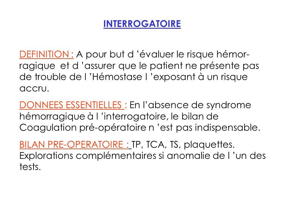 INTERROGATOIRE DEFINITION : A pour but d évaluer le risque hémor- ragique et d assurer que le patient ne présente pas de trouble de l Hémostase l exposant à un risque accru.