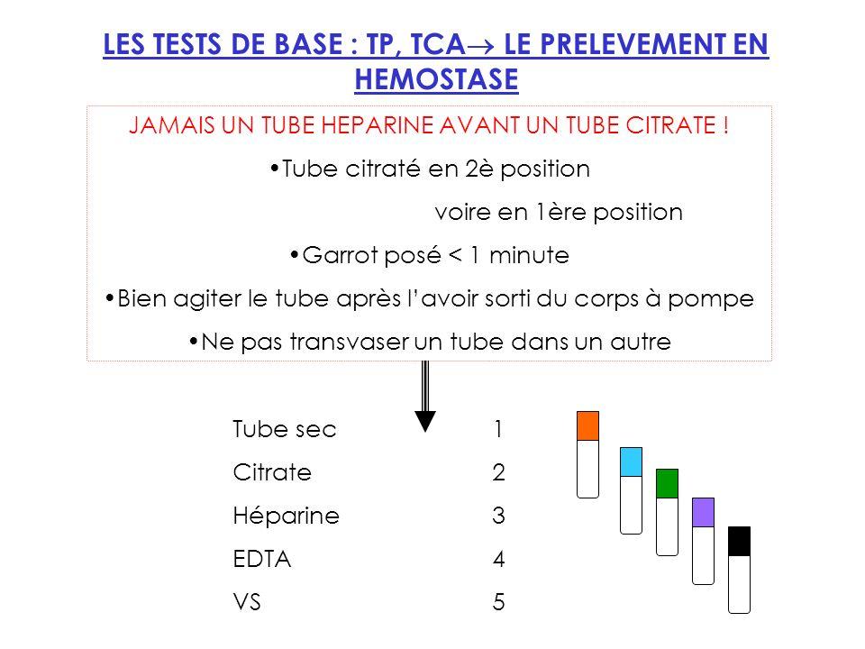LES TESTS DE BASE : TP, TCA LE PRELEVEMENT EN HEMOSTASE JAMAIS UN TUBE HEPARINE AVANT UN TUBE CITRATE .