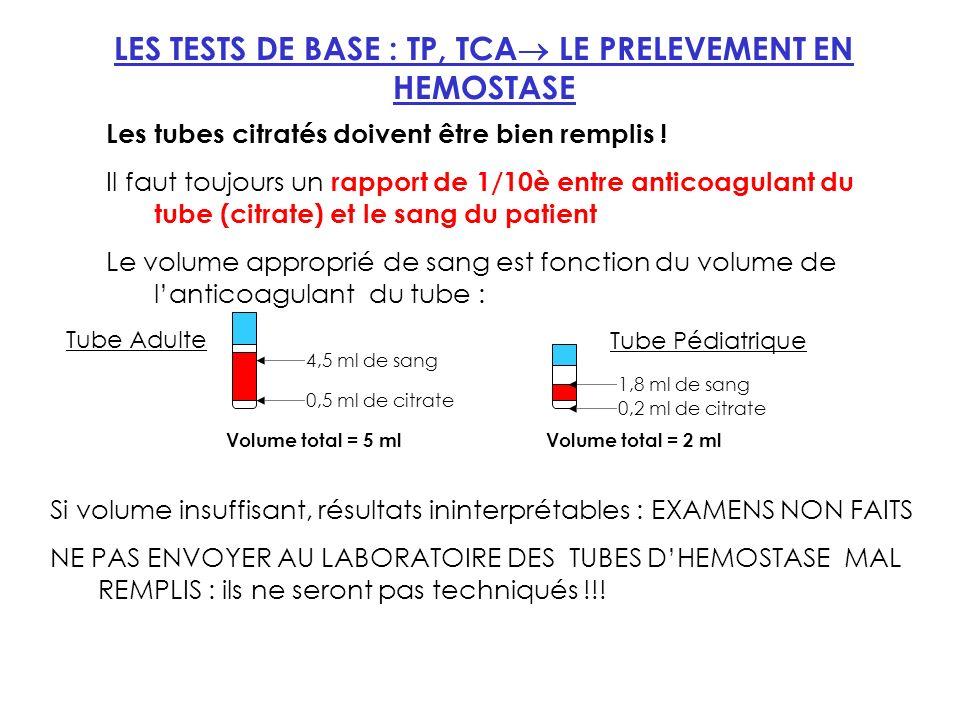 LES TESTS DE BASE : TP, TCA LE PRELEVEMENT EN HEMOSTASE Les tubes citratés doivent être bien remplis .
