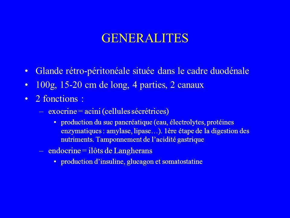 GENERALITES Glande rétro-péritonéale située dans le cadre duodénale 100g, 15-20 cm de long, 4 parties, 2 canaux 2 fonctions : –exocrine = acini (cellu
