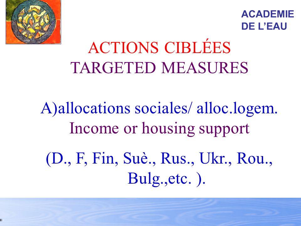 ACTIONS CIBLÉES TARGETED MEASURES A)allocations sociales/ alloc.logem. Income or housing support (D., F, Fin, Suè., Rus., Ukr., Rou., Bulg.,etc. ). AC