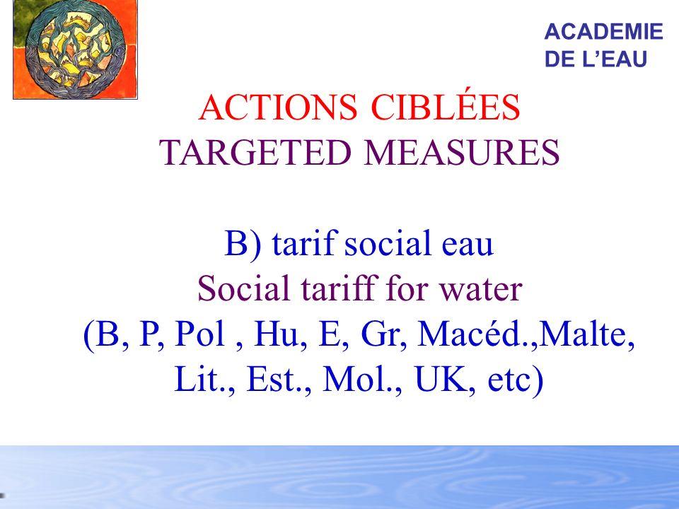 ACTIONS CIBLÉES TARGETED MEASURES B) tarif social eau Social tariff for water (B, P, Pol, Hu, E, Gr, Macéd.,Malte, Lit., Est., Mol., UK, etc) ACADEMIE