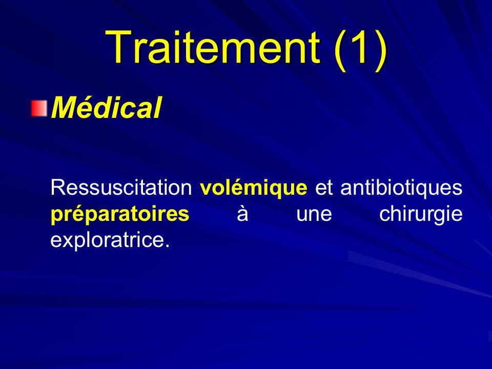 Traitement (1) Médical Ressuscitation volémique et antibiotiques préparatoires à une chirurgie exploratrice.