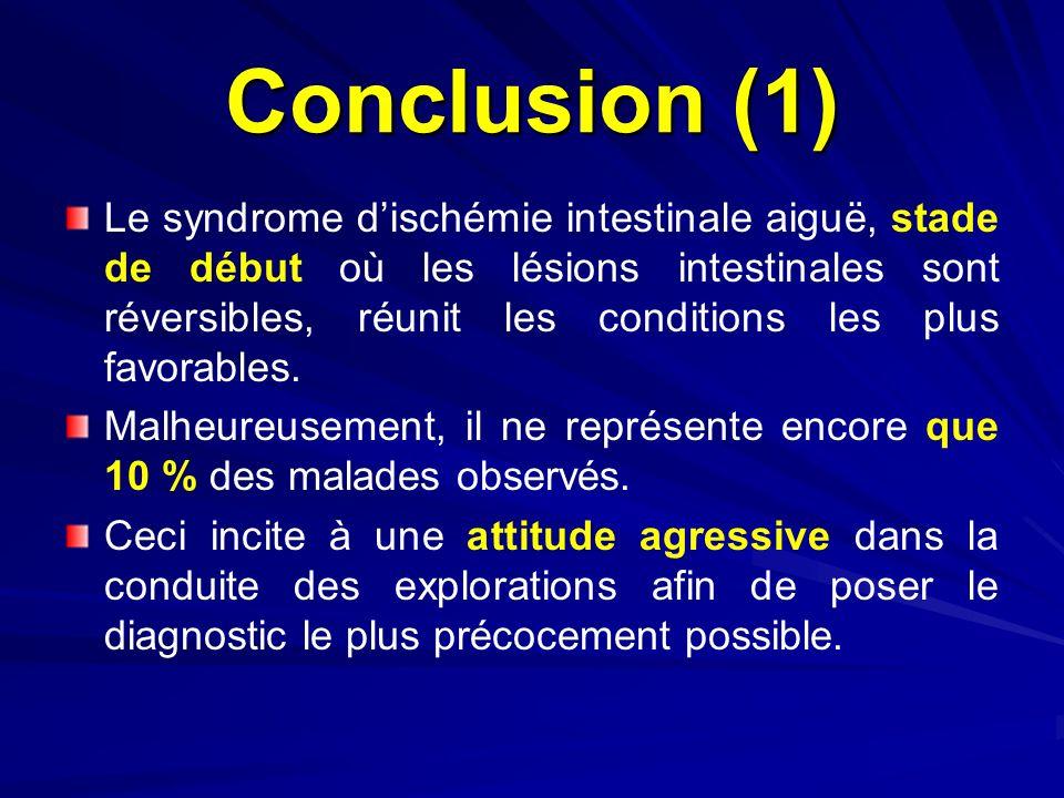Conclusion (1) Le syndrome dischémie intestinale aiguë, stade de début où les lésions intestinales sont réversibles, réunit les conditions les plus fa