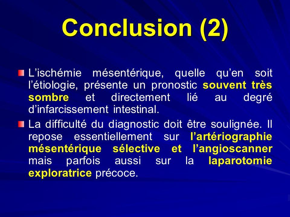 Conclusion (2) Lischémie mésentérique, quelle quen soit létiologie, présente un pronostic souvent très sombre et directement lié au degré dinfarcissem