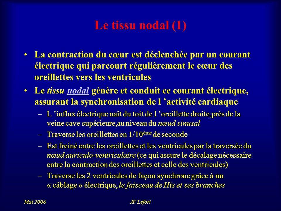 Mai 2006JF Lefort Le tissu nodal (1) La contraction du cœur est déclenchée par un courant électrique qui parcourt régulièrement le cœur des oreillettes vers les ventricules Le tissu nodal génère et conduit ce courant électrique, assurant la synchronisation de l activité cardiaquenodal –L influx électrique naît du toit de l oreillette droite,près de la veine cave supérieure,au niveau du nœud sinusal –Traverse les oreillettes en 1/10 ème de seconde –Est freiné entre les oreillettes et les ventricules par la traversée du nœud auriculo-ventriculaire (ce qui assure le décalage nécessaire entre la contraction des oreillettes et celle des ventricules) –Traverse les 2 ventricules de façon synchrone grâce à un « câblage » électrique, le faisceau de His et ses branches