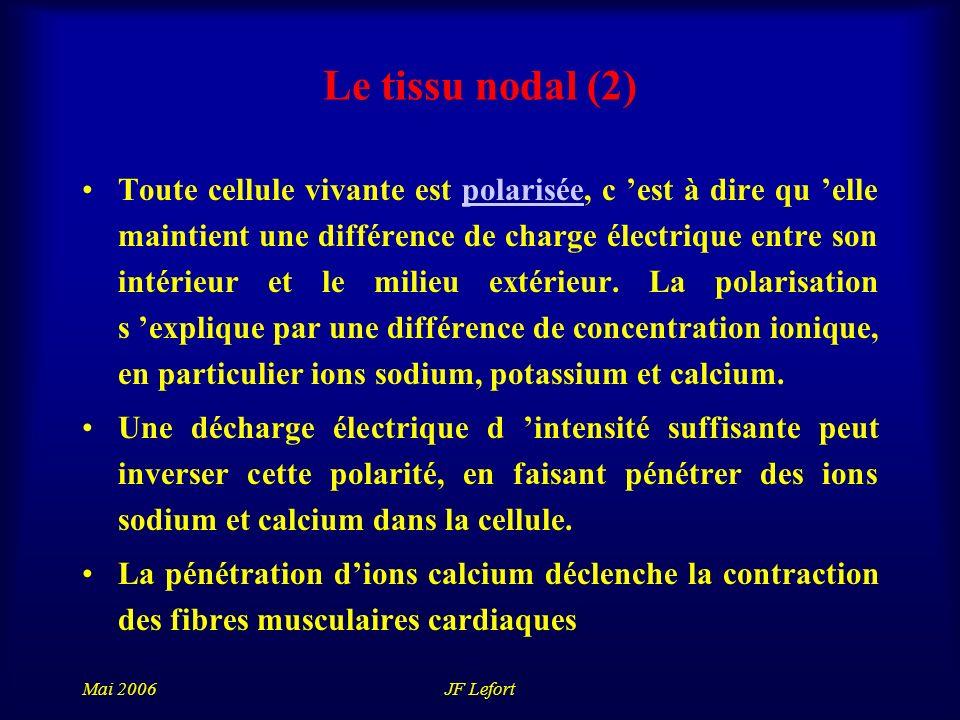 Mai 2006JF Lefort Le tissu nodal (2) Toute cellule vivante est polarisée, c est à dire qu elle maintient une différence de charge électrique entre son intérieur et le milieu extérieur.