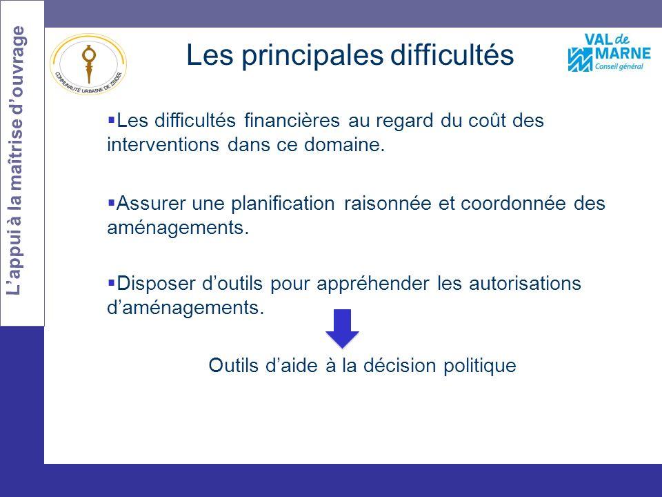 Les difficultés Les principales difficultés Les difficultés financières au regard du coût des interventions dans ce domaine.