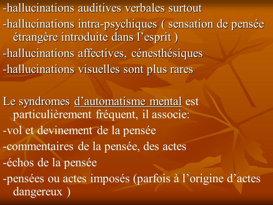 -hallucinations auditives verbales surtout -hallucinations intra-psychiques ( sensation de pensée étrangère introduite dans lesprit ) -hallucinations