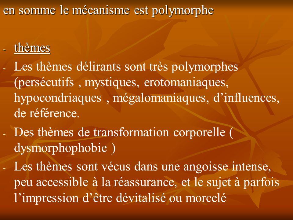 en somme le mécanisme est polymorphe - thèmes - - Les thèmes délirants sont très polymorphes (persécutifs, mystiques, erotomaniaques, hypocondriaques,