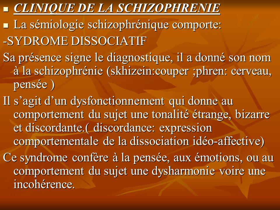 CLINIQUE DE LA SCHIZOPHRENIE CLINIQUE DE LA SCHIZOPHRENIE La sémiologie schizophrénique comporte: La sémiologie schizophrénique comporte: -SYDROME DIS