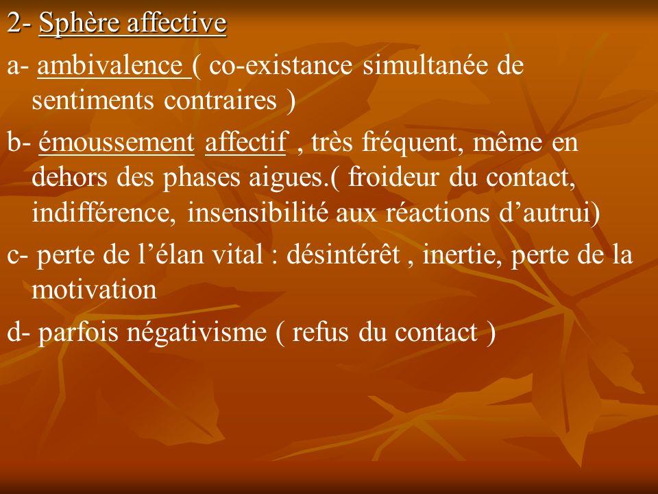 2- Sphère affective a- ambivalence ( co-existance simultanée de sentiments contraires ) b- émoussement affectif, très fréquent, même en dehors des pha