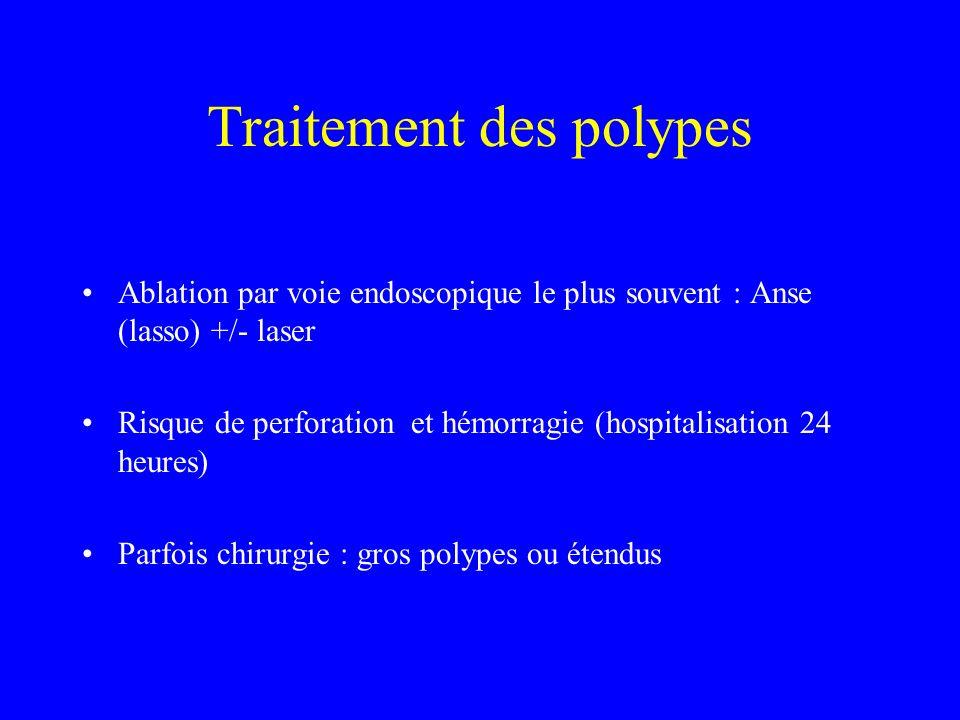 Traitement des polypes Ablation par voie endoscopique le plus souvent : Anse (lasso) +/- laser Risque de perforation et hémorragie (hospitalisation 24