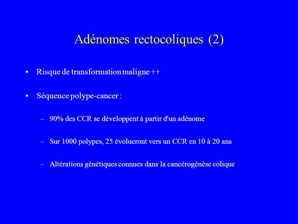 Adénomes rectocoliques (2) Risque de transformation maligne ++ Séquence polype-cancer : –90% des CCR se développent à partir d'un adénome –Sur 1000 po