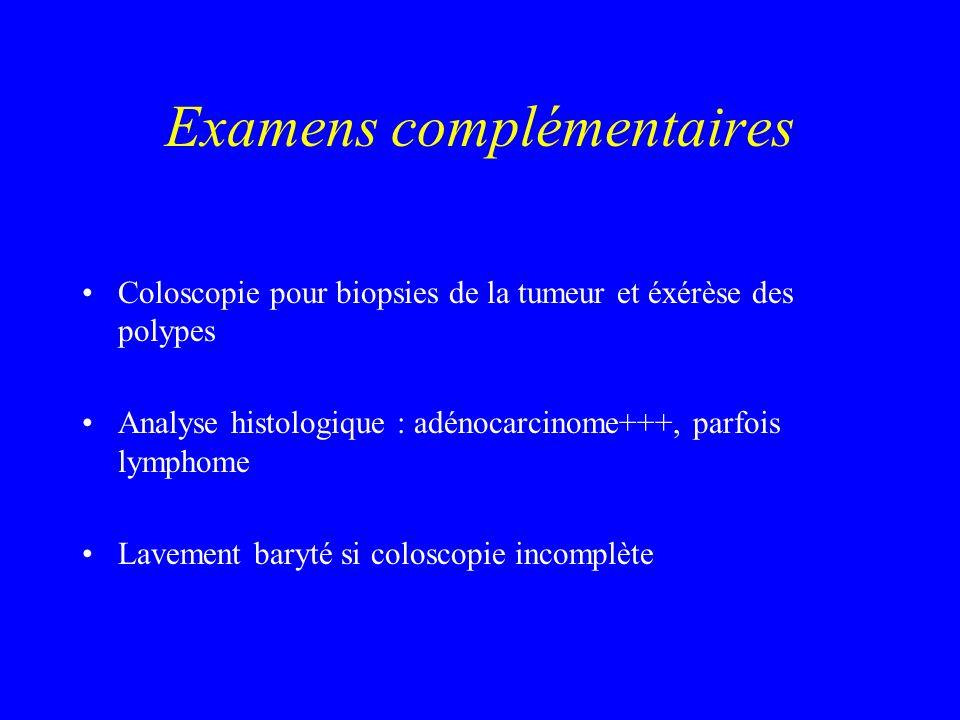 Examens complémentaires Coloscopie pour biopsies de la tumeur et éxérèse des polypes Analyse histologique : adénocarcinome+++, parfois lymphome Laveme
