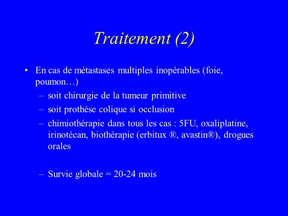 Traitement (2) En cas de métastases multiples inopérables (foie, poumon…) –soit chirurgie de la tumeur primitive –soit prothèse colique si occlusion –