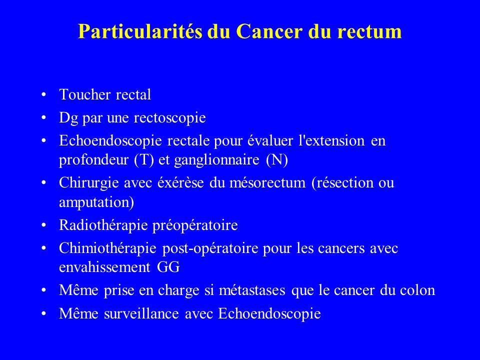 Particularités du Cancer du rectum Toucher rectal Dg par une rectoscopie Echoendoscopie rectale pour évaluer l'extension en profondeur (T) et ganglion