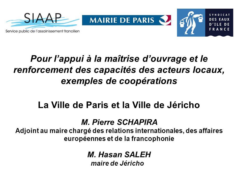 Pour lappui à la maîtrise douvrage et le renforcement des capacités des acteurs locaux, exemples de coopérations La Ville de Paris et la Ville de Jéricho M.