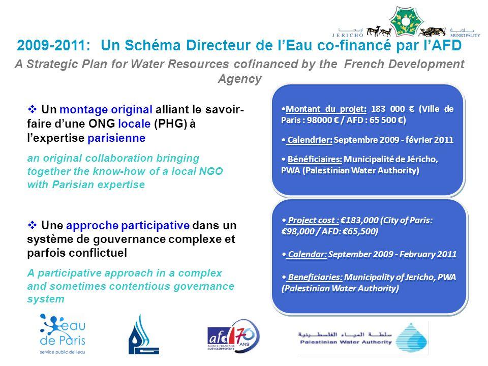 2009-2011: Un Schéma Directeur de lEau co-financé par lAFD A Strategic Plan for Water Resources cofinanced by the French Development Agency Montant du projet: 183 000 (Ville de Paris : 98000 / AFD : 65 500 ) Calendrier: Septembre 2009 - février 2011 Bénéficiaires: Municipalité de Jéricho, PWA (Palestinian Water Authority) Montant du projet: 183 000 (Ville de Paris : 98000 / AFD : 65 500 ) Calendrier: Septembre 2009 - février 2011 Bénéficiaires: Municipalité de Jéricho, PWA (Palestinian Water Authority) Un montage original alliant le savoir- faire dune ONG locale (PHG) à lexpertise parisienne an original collaboration bringing together the know-how of a local NGO with Parisian expertise Une approche participative dans un système de gouvernance complexe et parfois conflictuel A participative approach in a complex and sometimes contentious governance system Project cost : 183,000 (City of Paris: 98,000 / AFD: 65,500) Calendar: September 2009 - February 2011 Beneficiaries: Municipality of Jericho, PWA (Palestinian Water Authority) Project cost : 183,000 (City of Paris: 98,000 / AFD: 65,500) Calendar: September 2009 - February 2011 Beneficiaries: Municipality of Jericho, PWA (Palestinian Water Authority)
