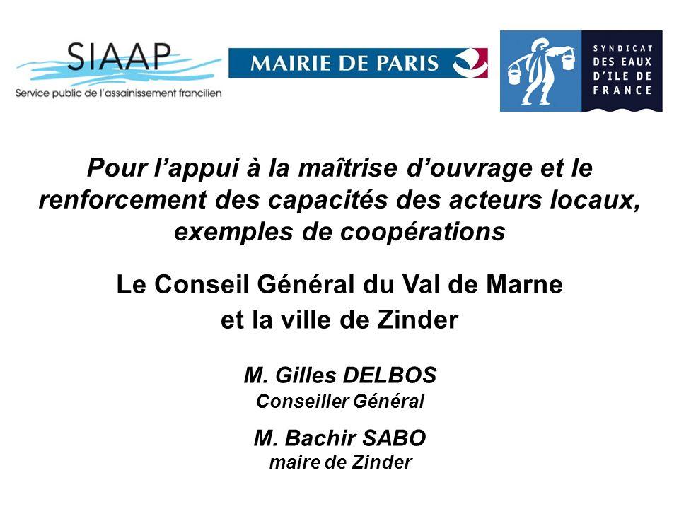 Pour lappui à la maîtrise douvrage et le renforcement des capacités des acteurs locaux, exemples de coopérations Le Conseil Général du Val de Marne et la ville de Zinder M.