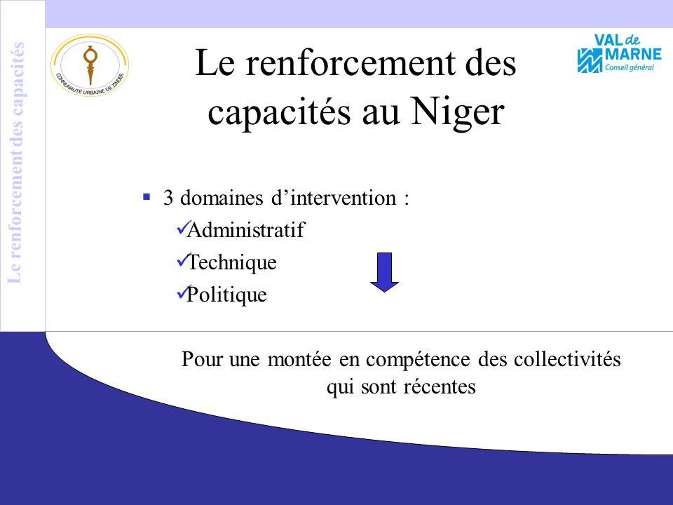 Le renforcement des capacités au Niger 3 domaines dintervention : Administratif Technique Politique Pour une montée en compétence des collectivités qui sont récentes Le renforcement des capacités