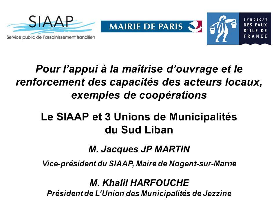 Pour lappui à la maîtrise douvrage et le renforcement des capacités des acteurs locaux, exemples de coopérations Le SIAAP et 3 Unions de Municipalités du Sud Liban M.